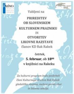 802 1 237x300 - Prireditev ob slovenskem kulturnem prazniku in otvoritev likovne razstave članov KD Rak Rakek