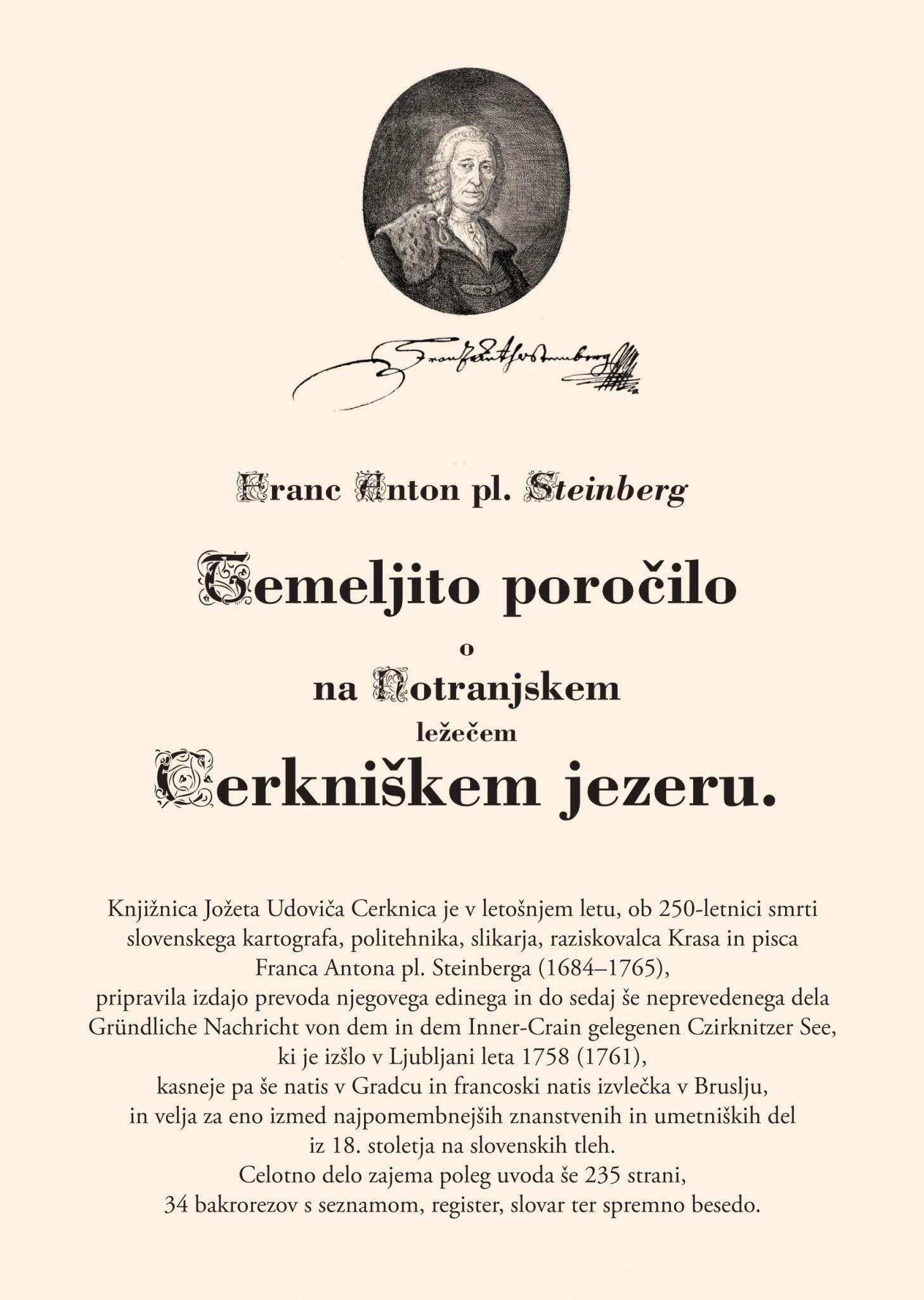 vabilo 2 - Predstavitev monografije Franca Antona pl. Steinberga Temeljito poročilo o na Notranjskem ležečem Cerkniškem jezeru