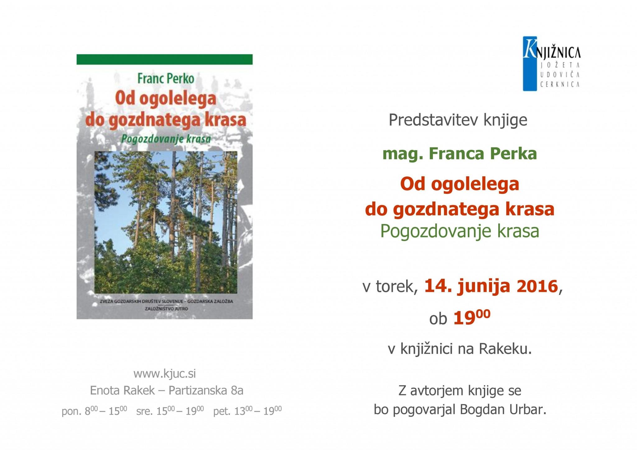 vabilo 1 page 001 - Franc Perko: Od ogolelega do gozdnatega krasa