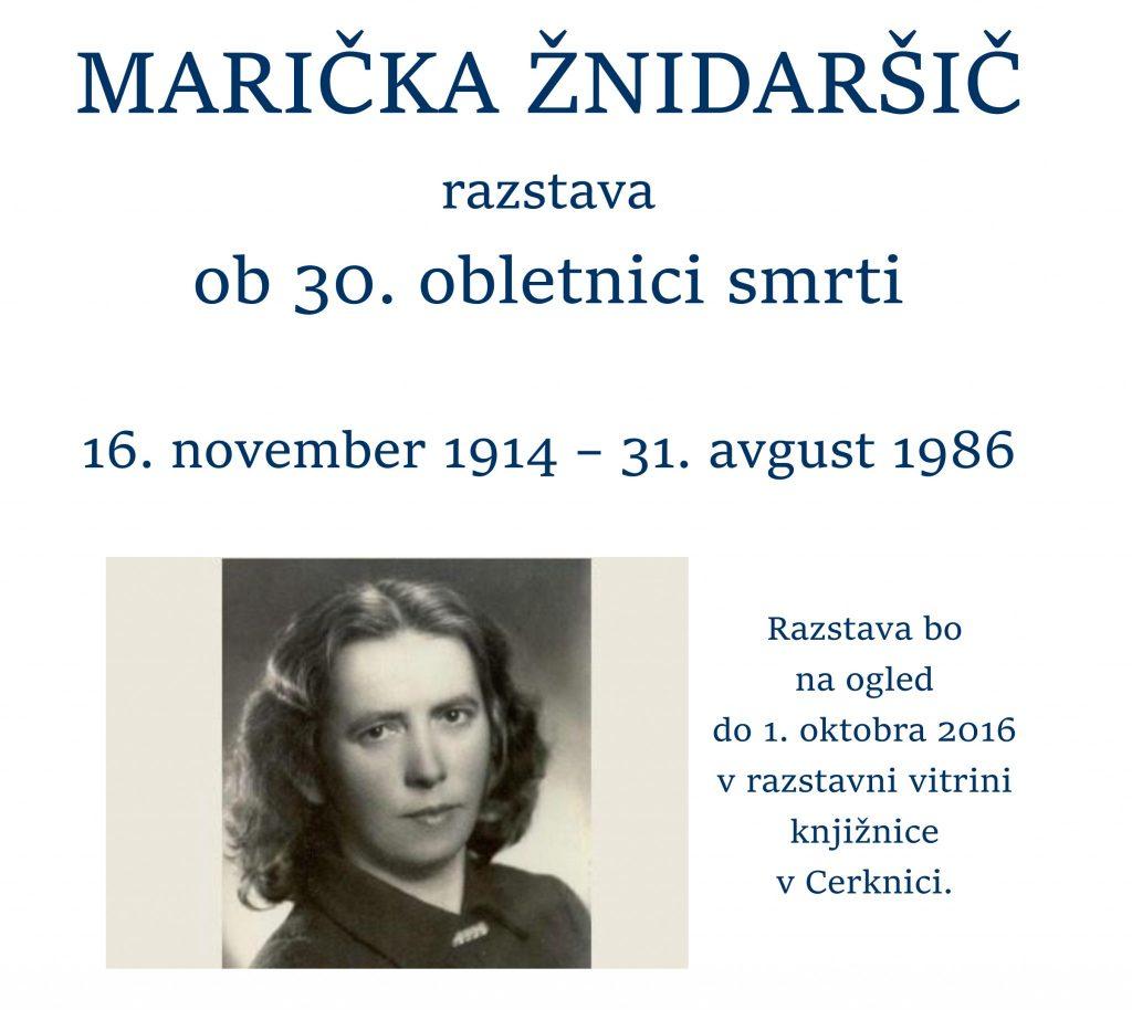 MARIČKA ŽNIDARŠIČ 1024x914 - Marička Žnidaršič – razstava ob 30. obletnici smrti