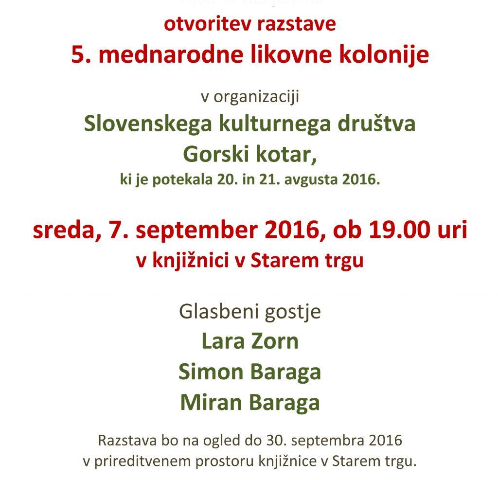 vabilo 1024x987 - Otvoritev razstave 5. mednarodne likovne kolonije v organizaciji Slovenskega kulturnega društva Gorski kotar
