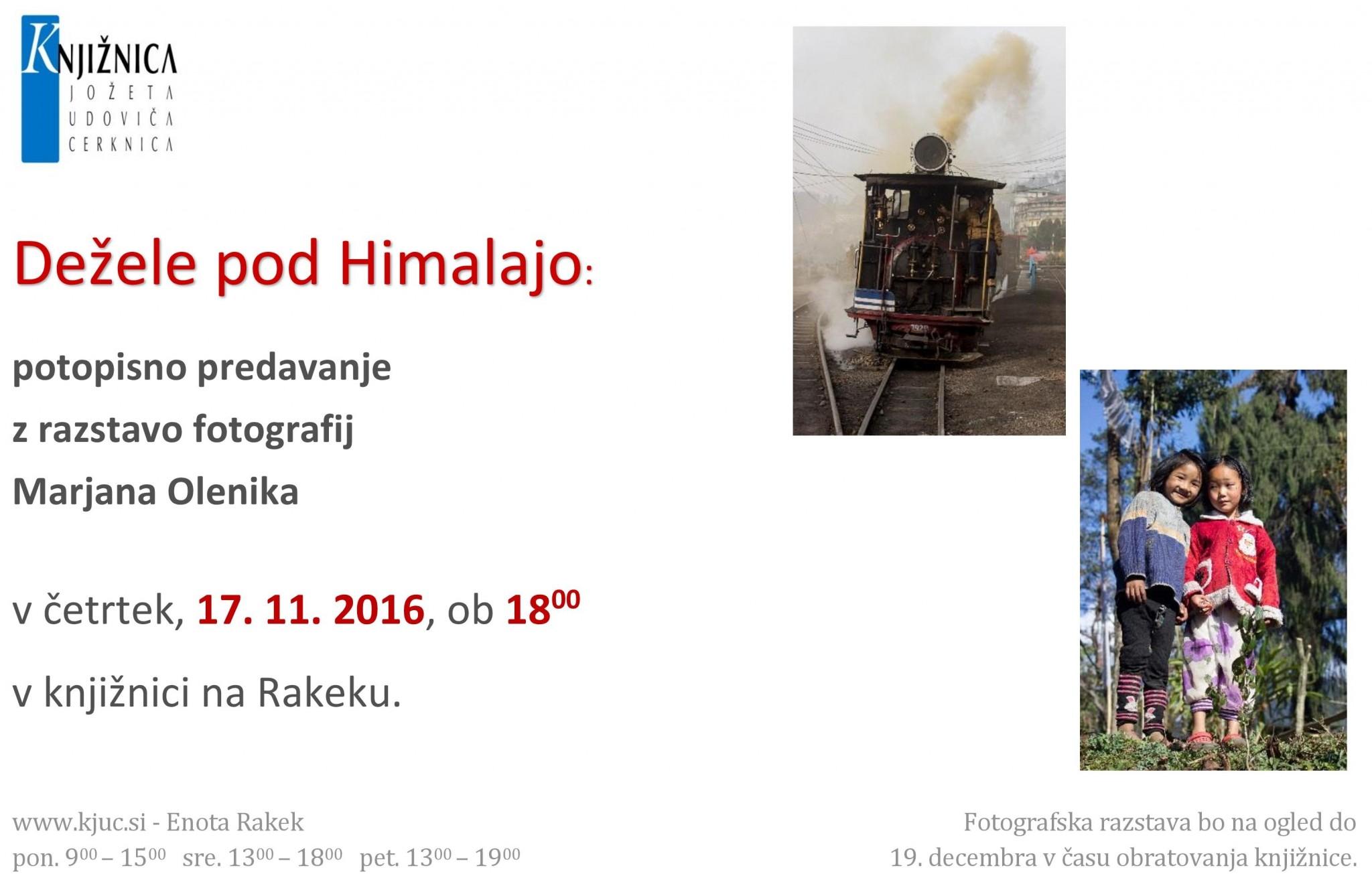 cover 1 - Dežele pod Himalajo: potopisno predavanje z razstavo fotografij Marjana Olenika