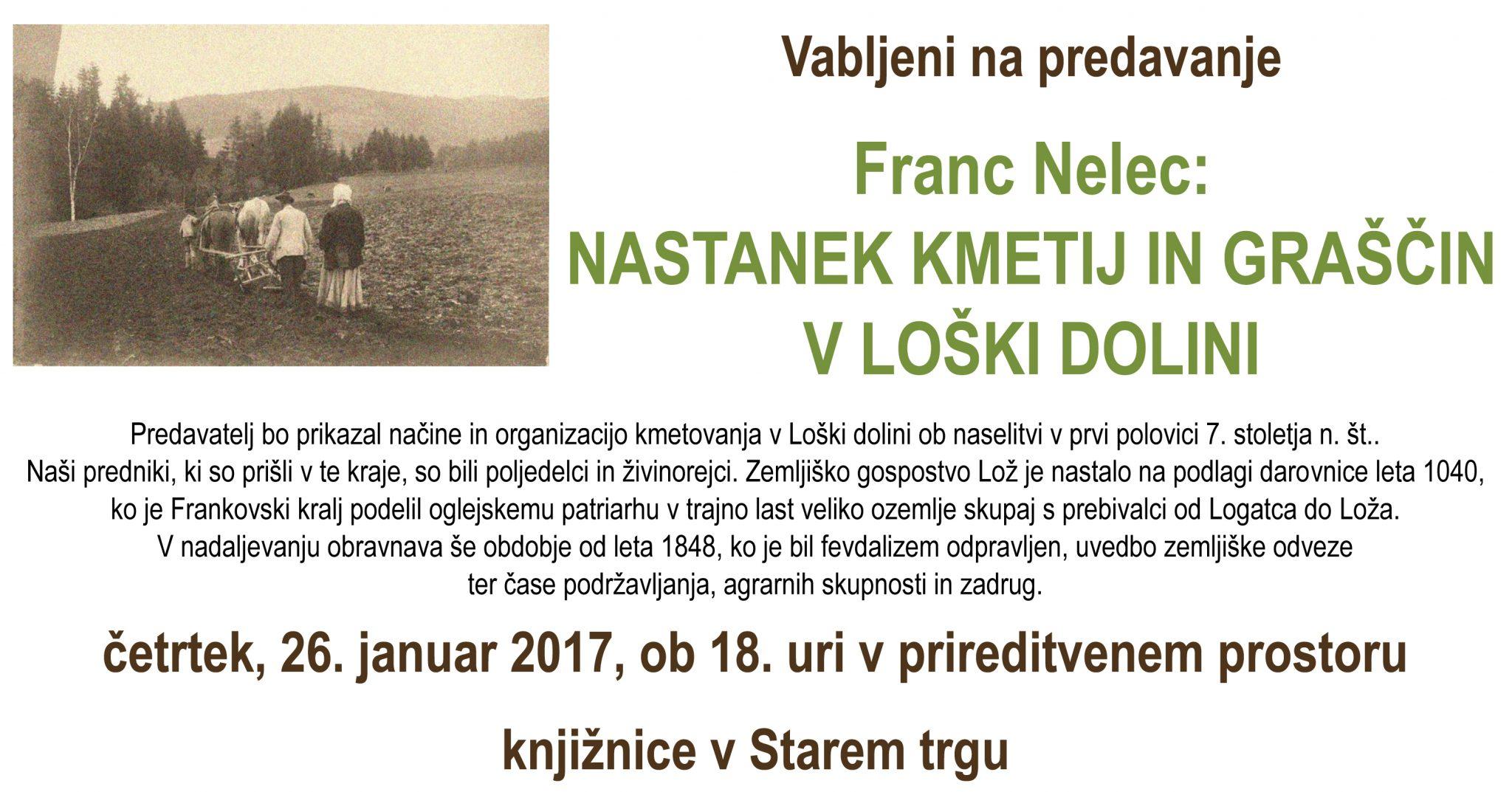 Vabilo - Franc Nelec: Nastanek kmetij in graščin v Loški dolini