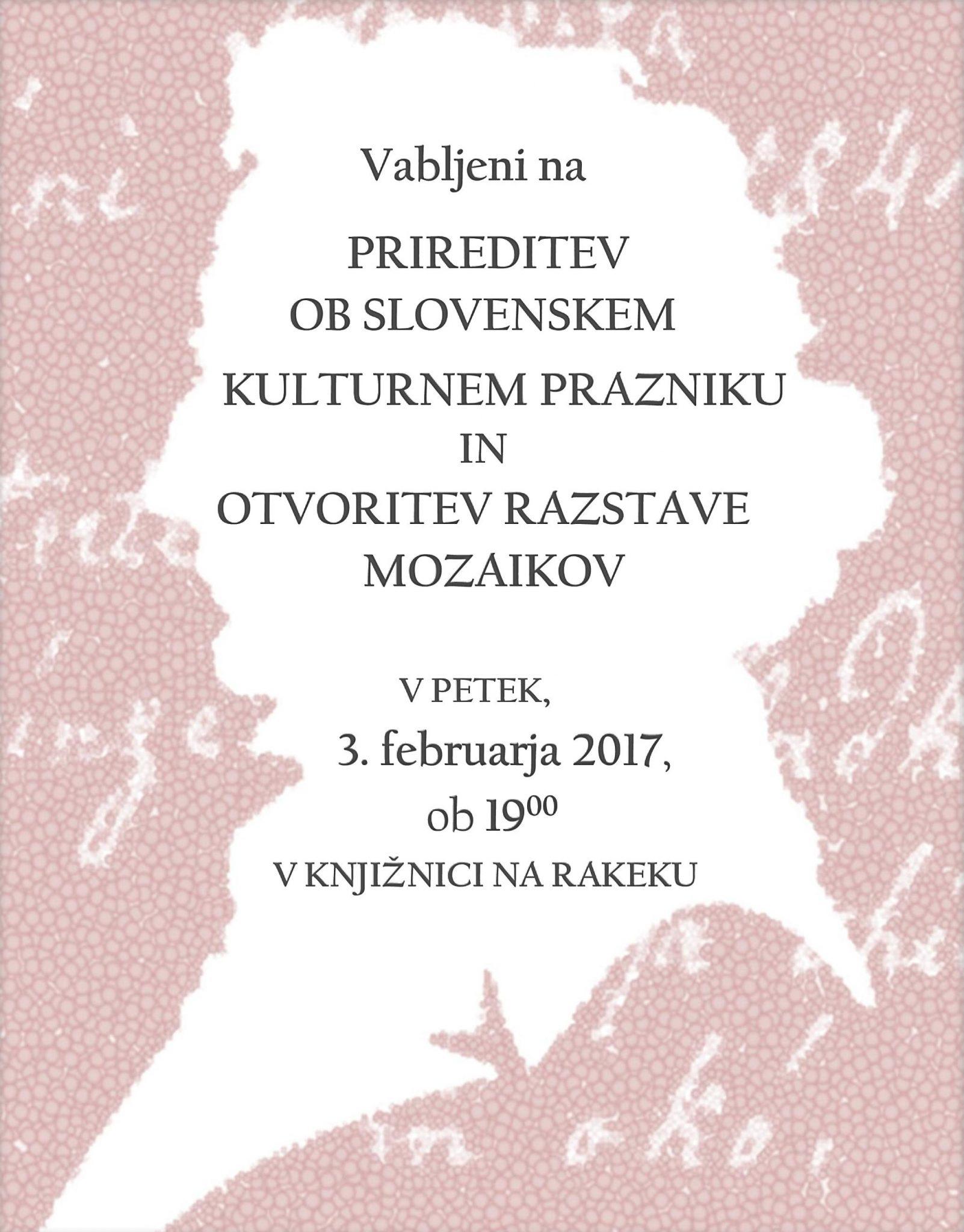cover2 - Prireditev ob slovenskem kulturnem prazniku in otvoritev razstave mozaikov
