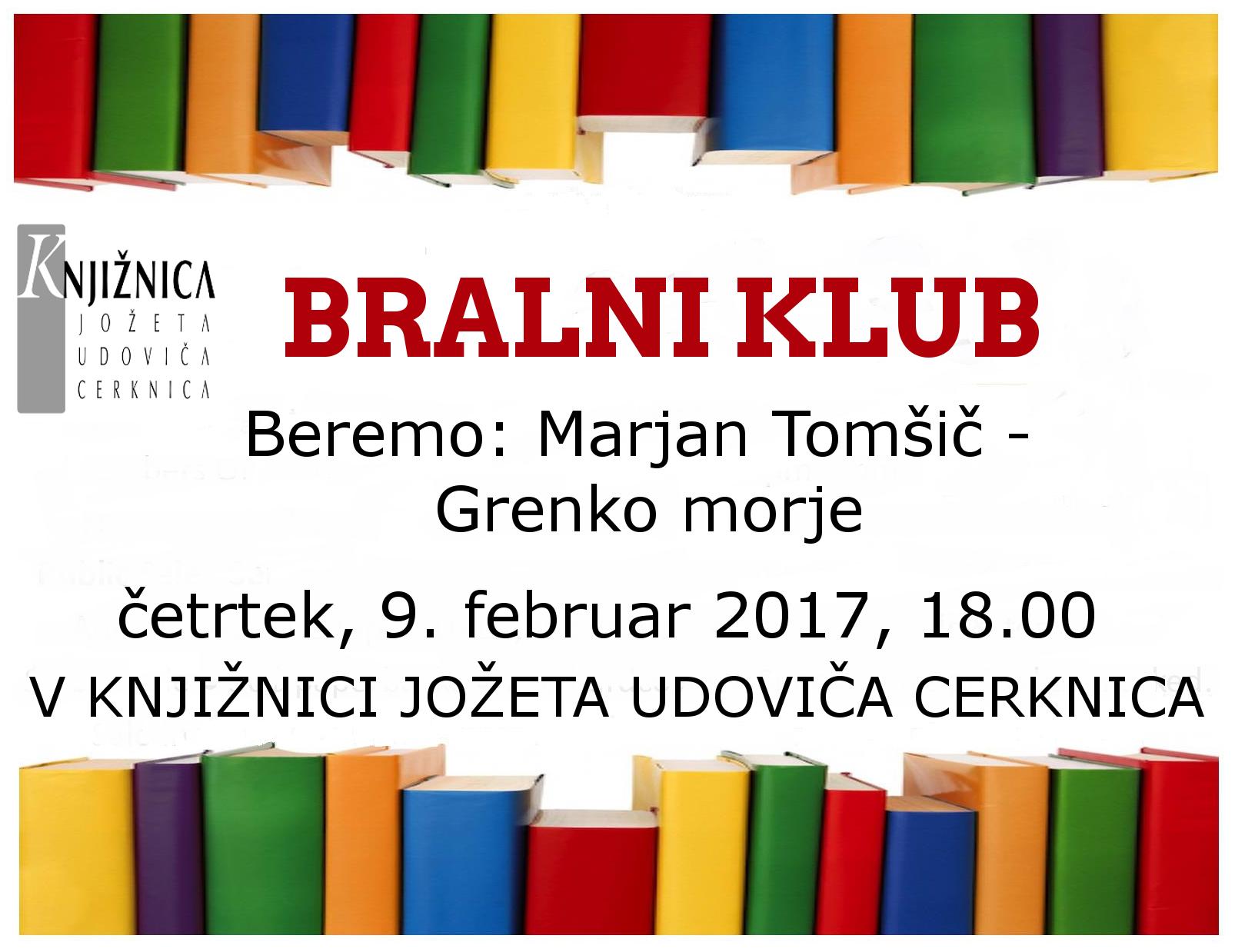 vabilo 6sestanek - Bralni klub: Marjan Tomšič - Grenko morje