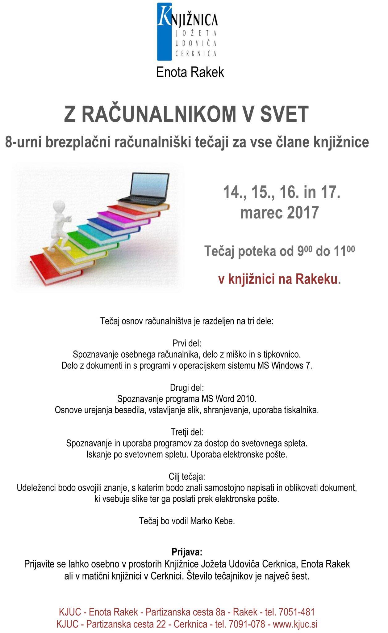 R racunalniski tecaji 2017 - Z računalnikom v svet - 8-urni brezplačni računalniški tečaj za vse člane knjižnice