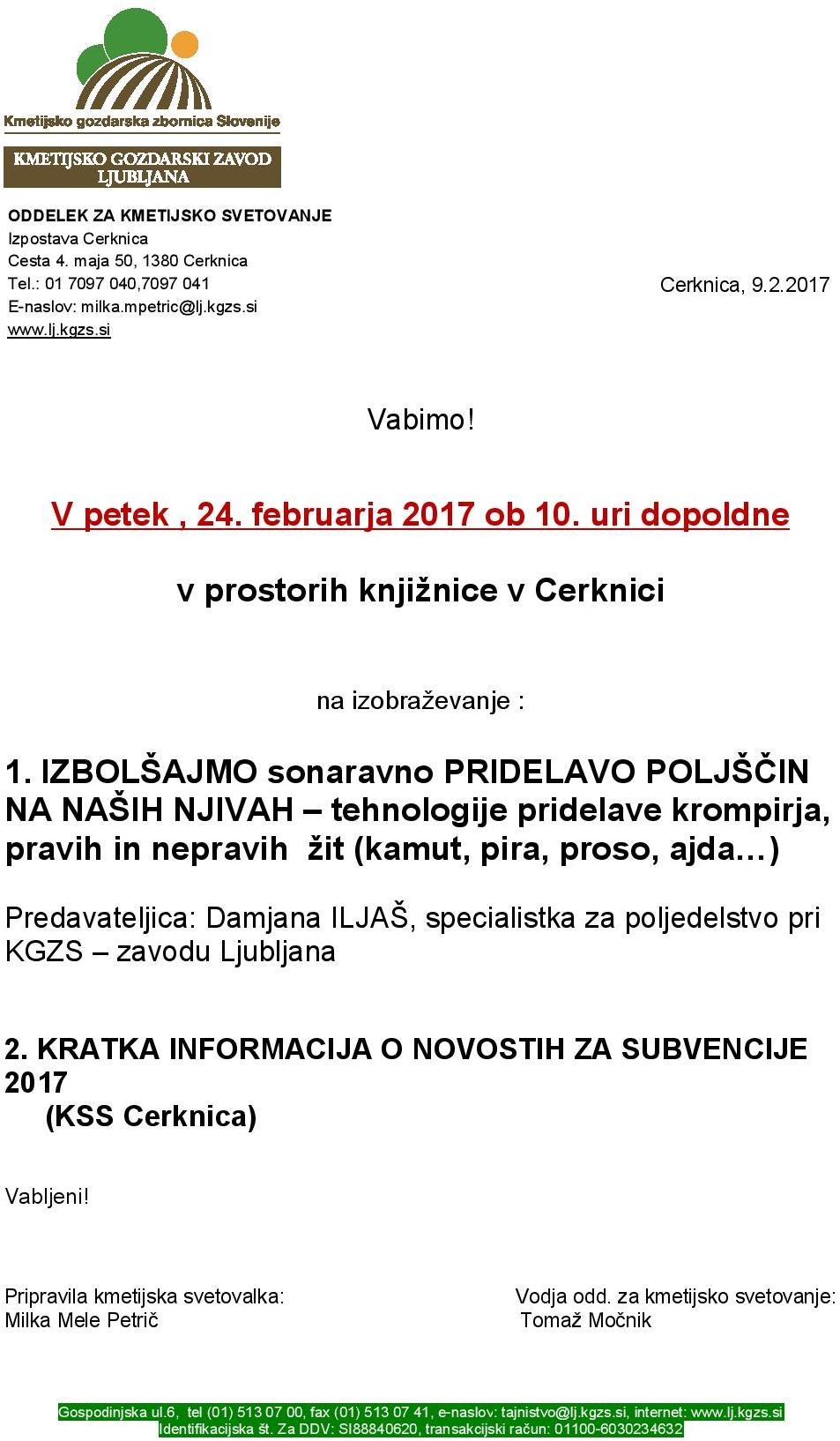 kmetijska page 001 - Izboljšajmo sonaravno pridelavo poljščin na naših njivah - predavanje KSS Cerknica, 24. 02. 2017