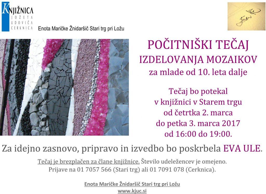 tečaj mozaika 1024x747 - Počitniški tečaj izdelovanja mozaikov v Starem trgu