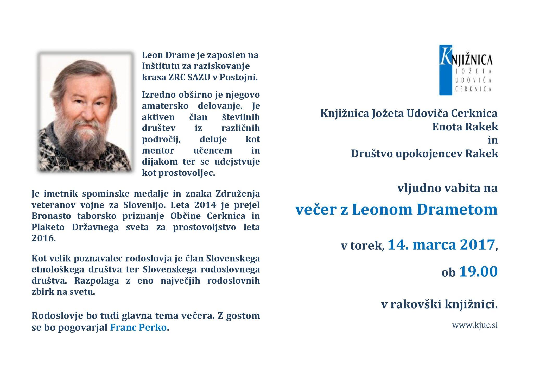 vabilo Drame page 001 - Večer z Leonom Drametom
