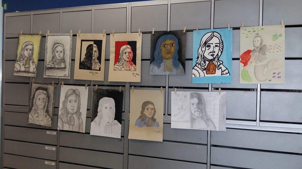 20170306 131255 1 1024x576 - Slikanje portretov: Valvasor, Udovič - razstava likovnih del osnovnošolcev