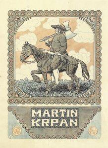 Ilustracija za naslovnico knjige Martin Krpan 218x300 - Razstava knjižnih izdaj ob 100-letnici izida slikanice Martin Krpan z Vrha s podobami Hinka Smrekarja