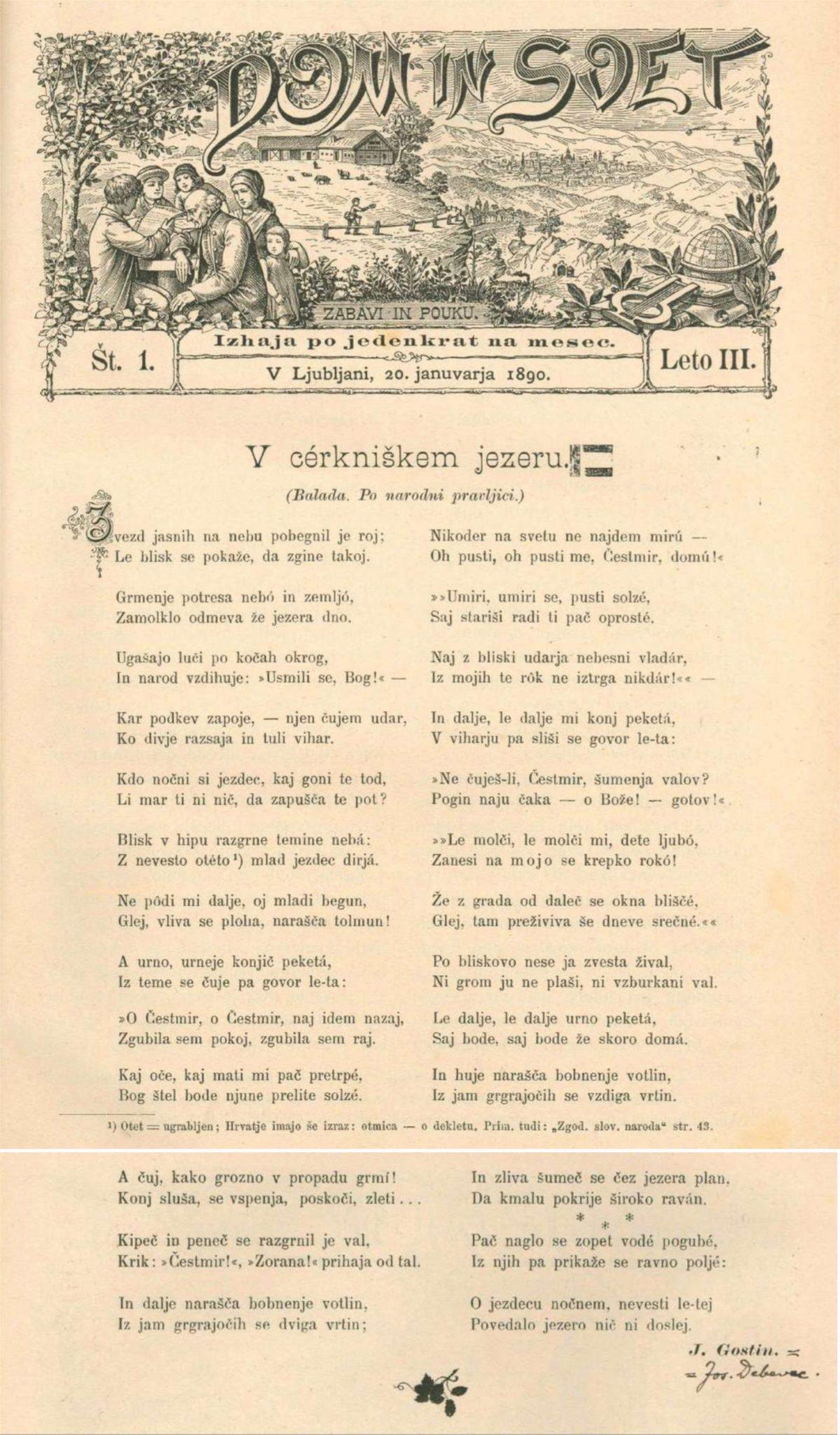 pesem - 150-letnica rojstva Jožeta Debevca, prvega prevajalca Dantejeve Božanske komedije v slovenski jezik