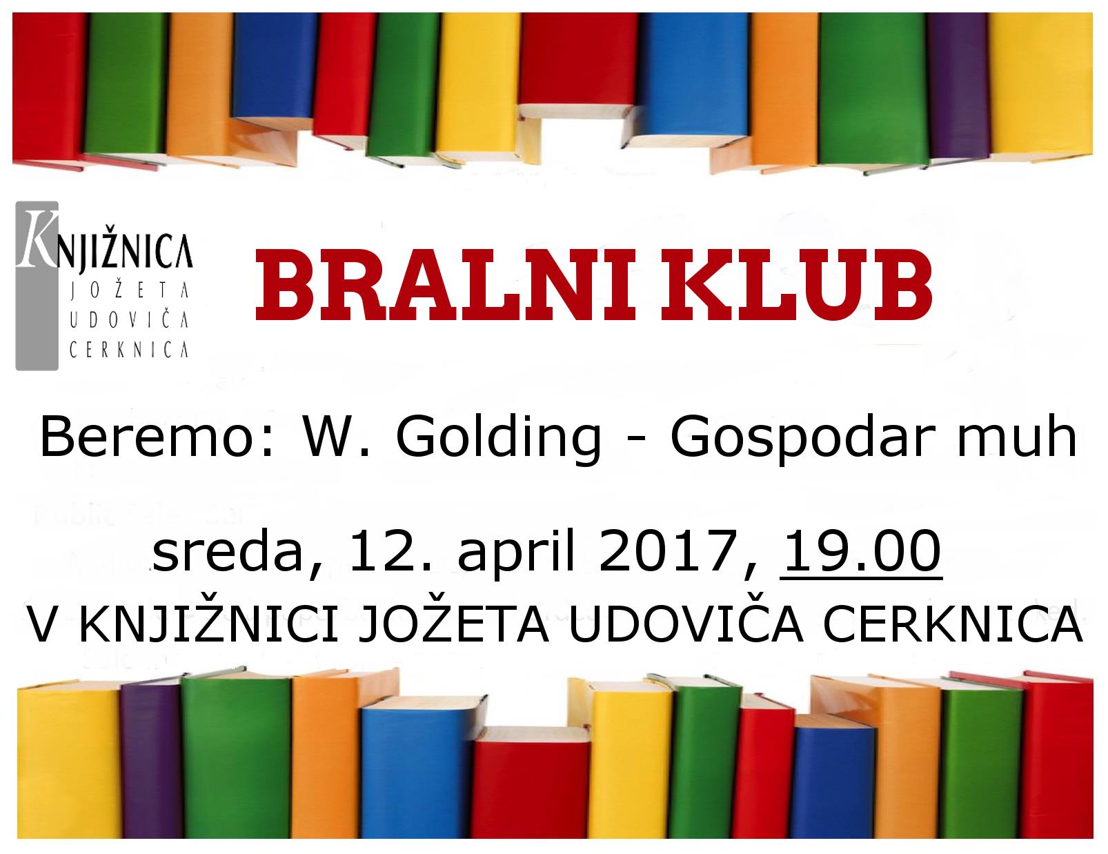 vabilo april2017 - Bralni klub: W. Golding - Gospodar muh