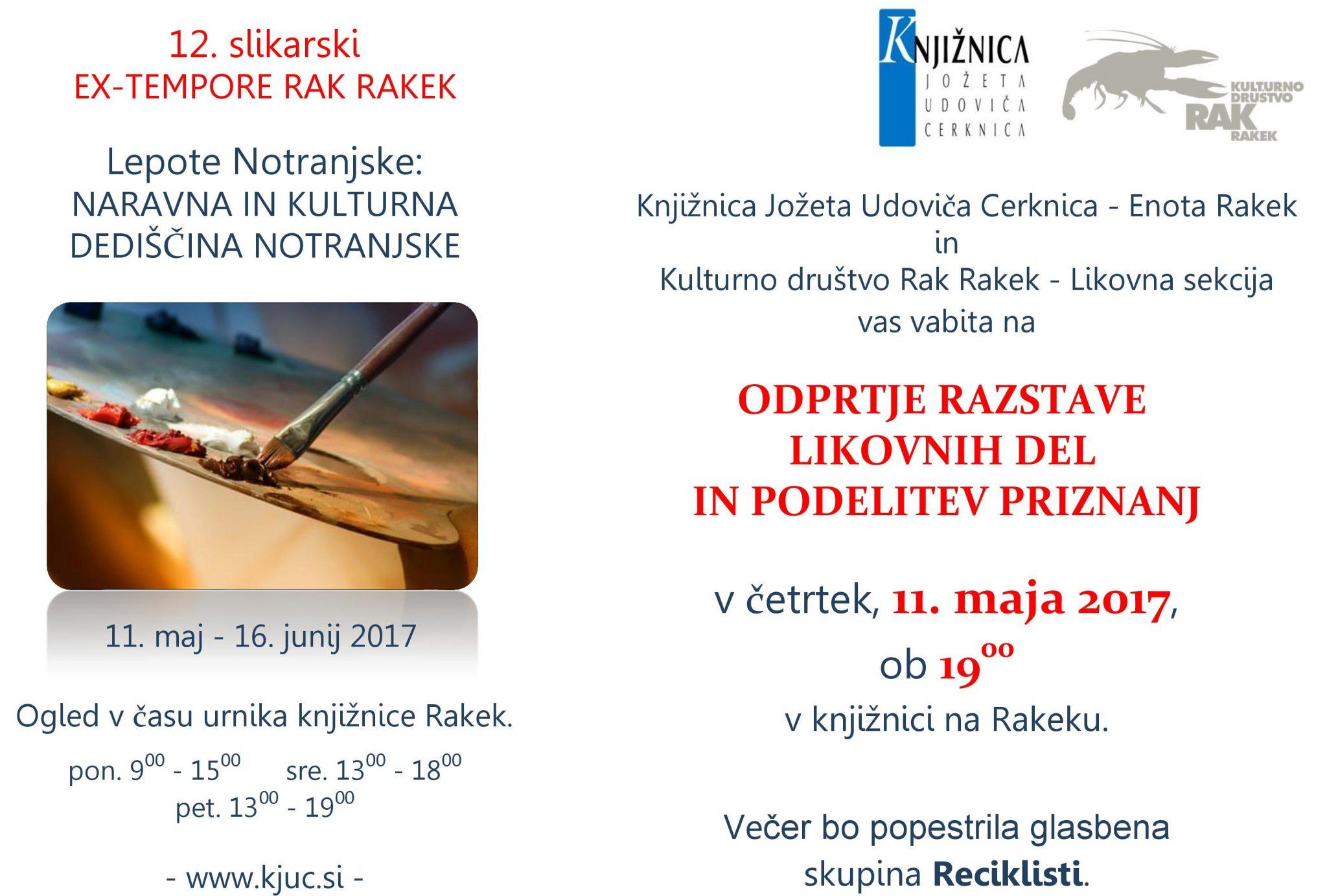 cover 3 - 12. slikarski Ex-tempore Rak Rakek – otvoritev razstave likovnih del