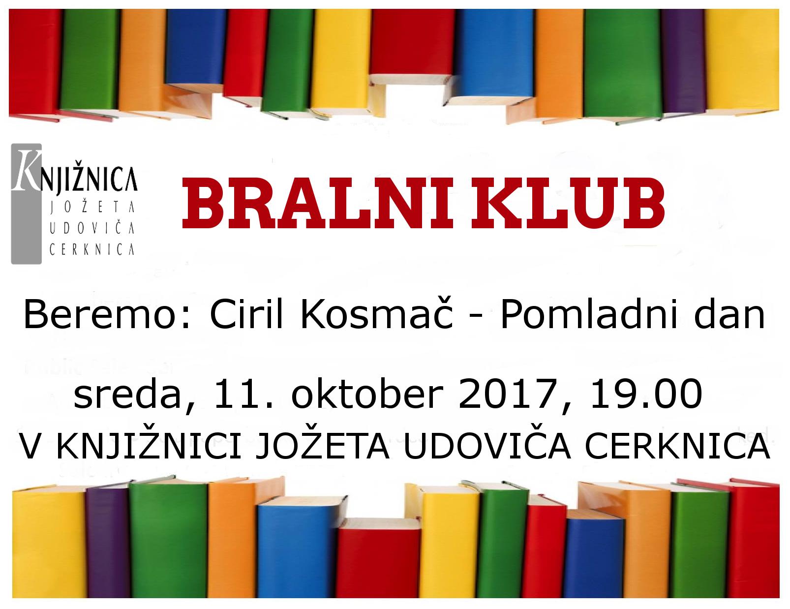 vabilo 2sestanek - Bralni klub: Ciril Kosmač - Pomladni dan