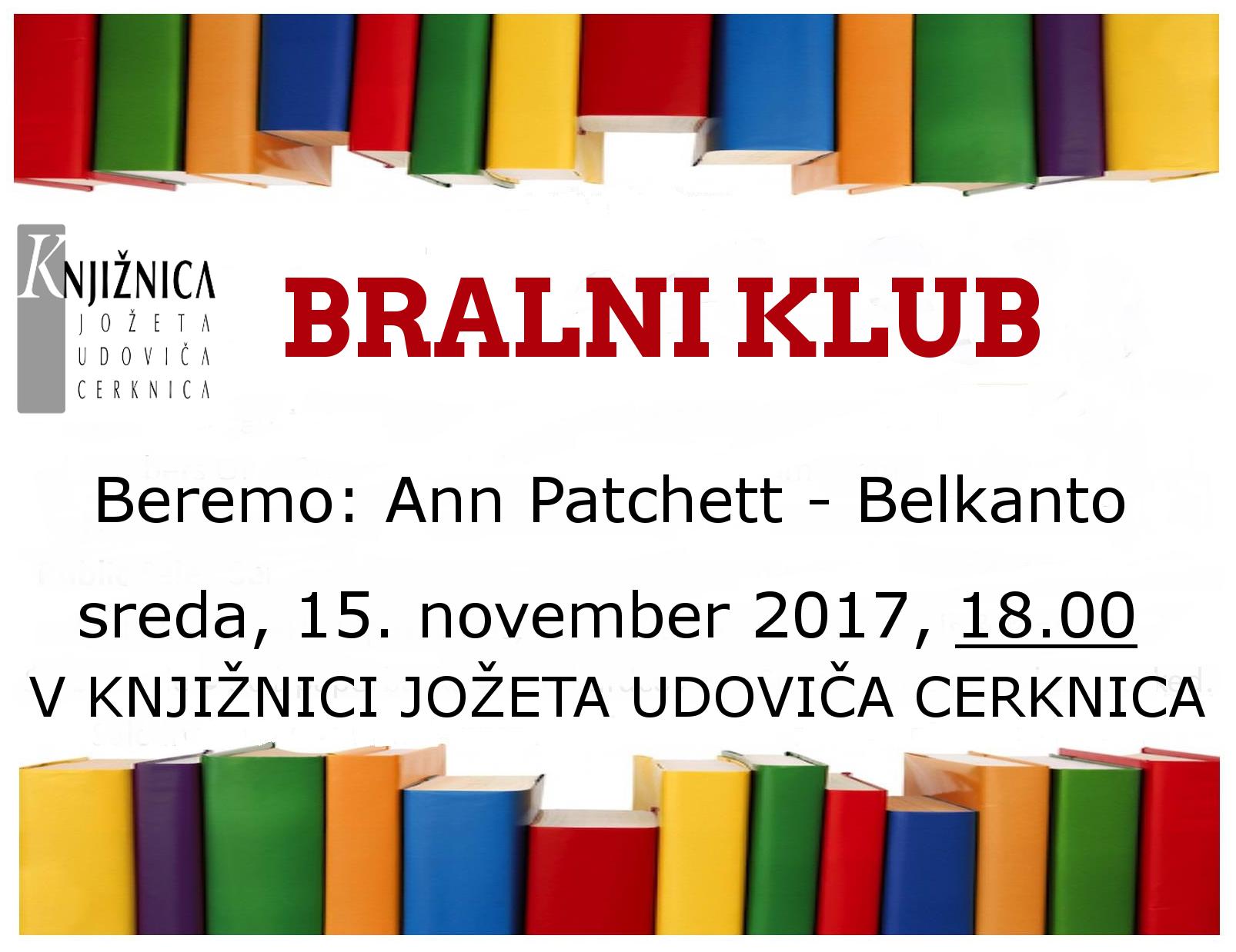 vabilo 3sestanek - Bralni klub: Ann Patchett - Belkanto