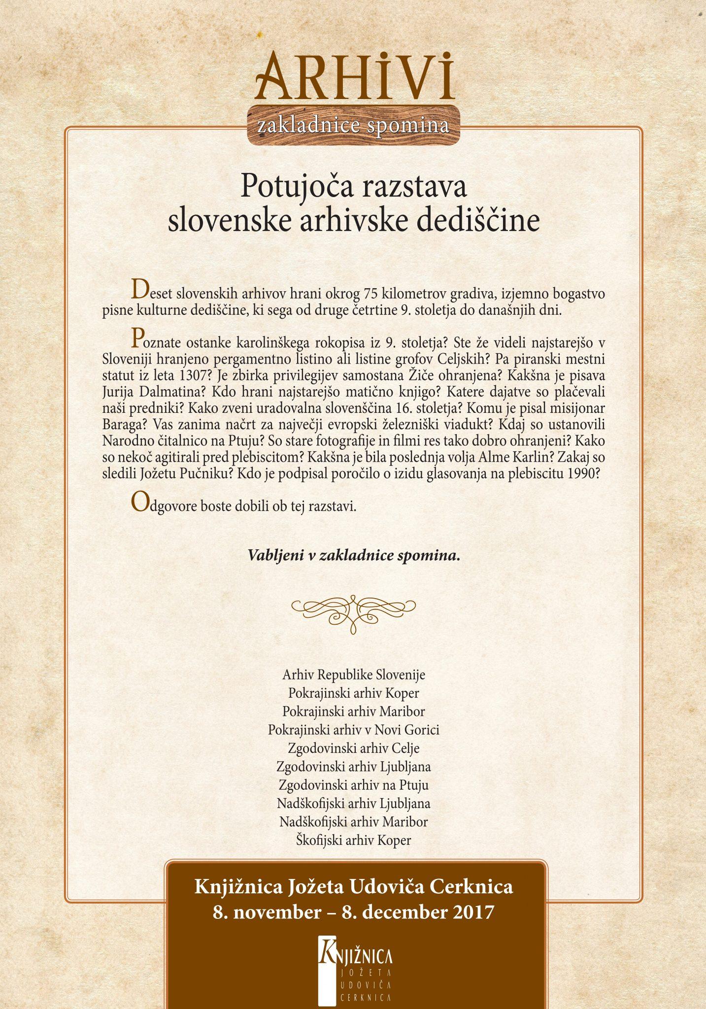 plakat cerknica - Arhivi - zakladnice spomina - potujoča razstava slovenske arhivske dediščine