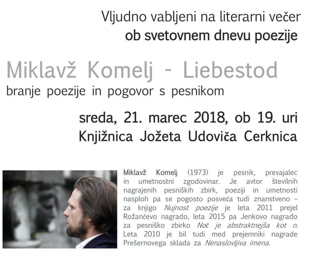 vabilo 1024x851 - Miklavž Komelj: Liebestod - literarni večer ob svetovnem dnevu poezije