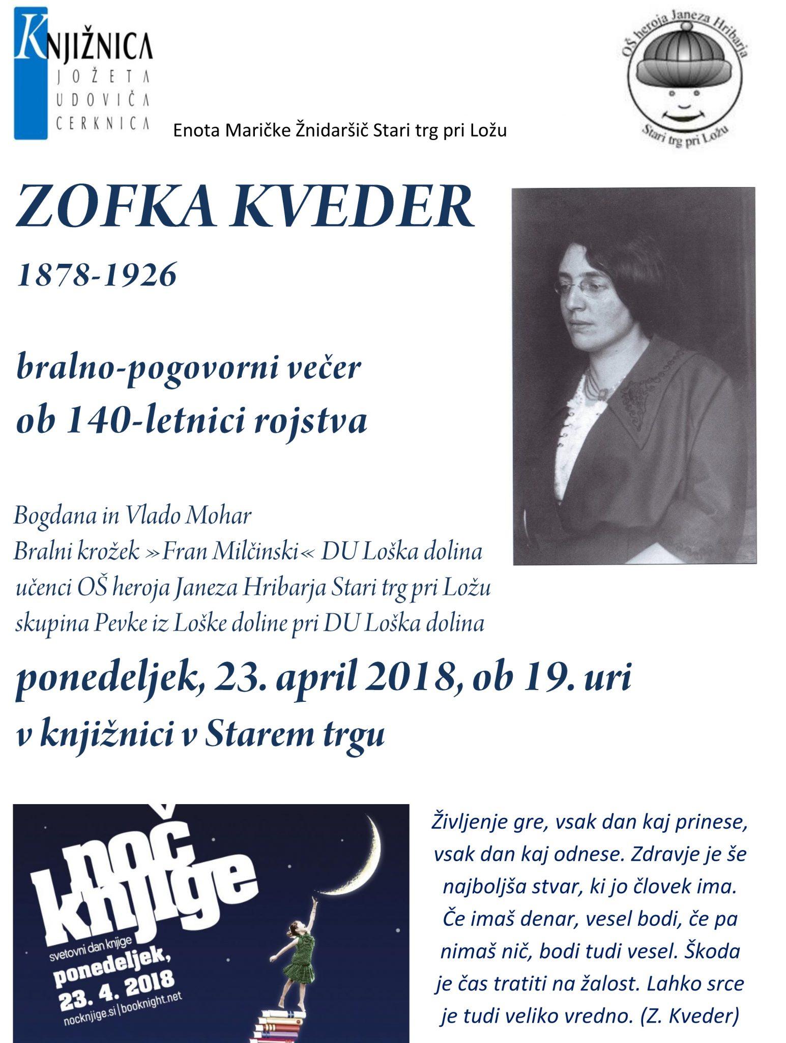 Vabilo 2 1 - Noč knjige v Starem trgu: 140-letnica rojstva Zofke Kveder - bralno-pogovorni večer
