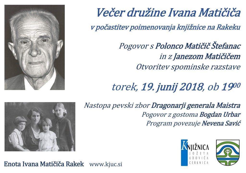 vabilo 2 1024x720 - Večer družine Ivana Matičiča v počastitev poimenovanja knjižnice na Rakeku