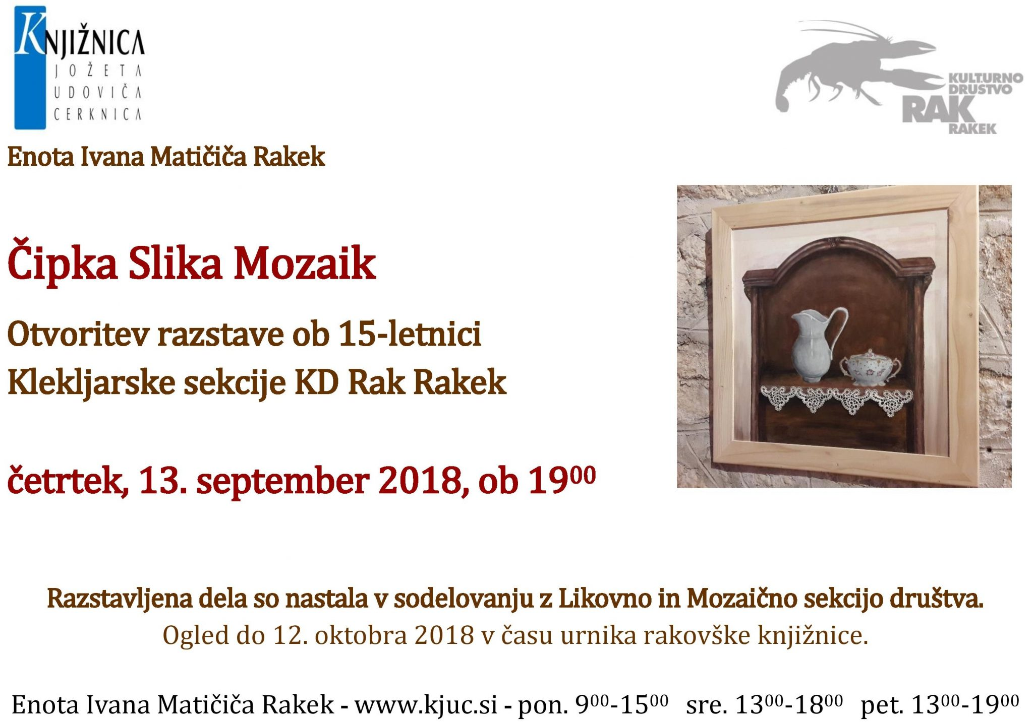 cover - Čipka Slika Mozaik - otvoritev razstave