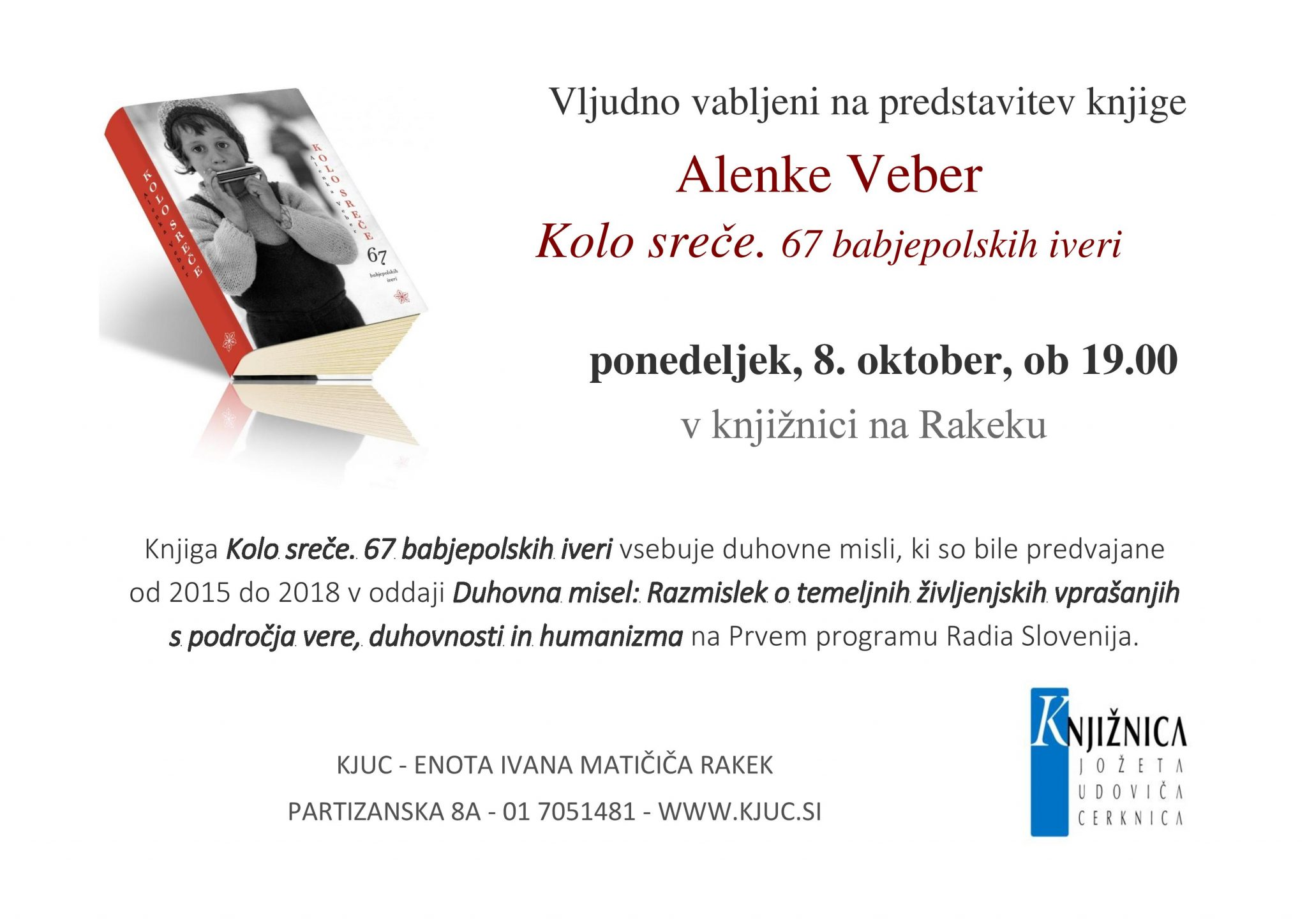 kolo.srece vabilo page 001 - Alenka Veber – Kolo sreče. 67 babjepolskih iveri – predstavitev knjige