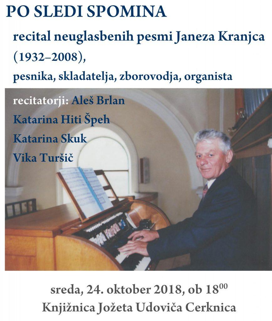 Vabilo Kranjec Janez 868x1024 - Recital neuglasbenih pesmi Janeza Kranjca - Po sledi spomina