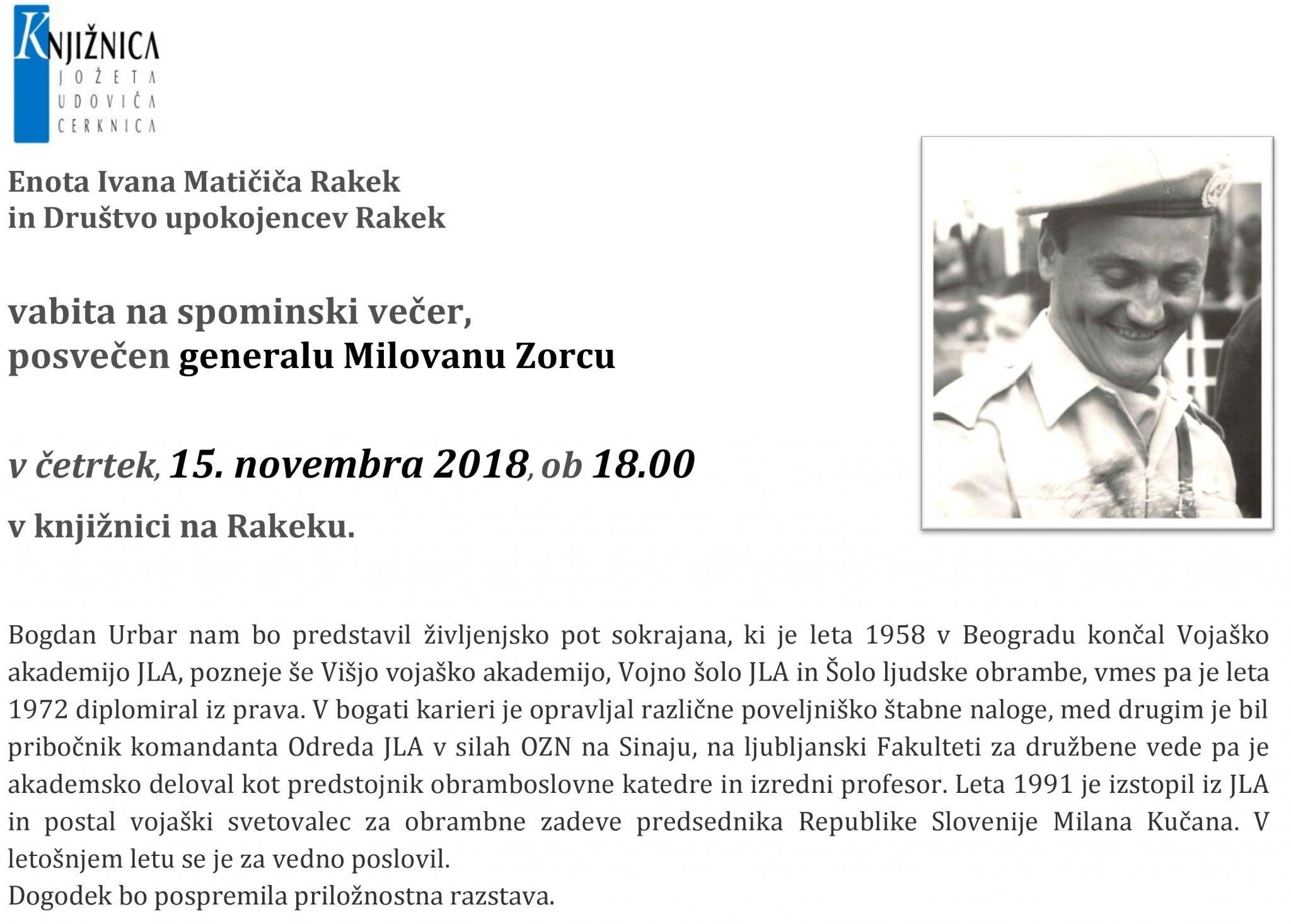 cover 10 - Spominski večer posvečen generalu Milovanu Zorcu