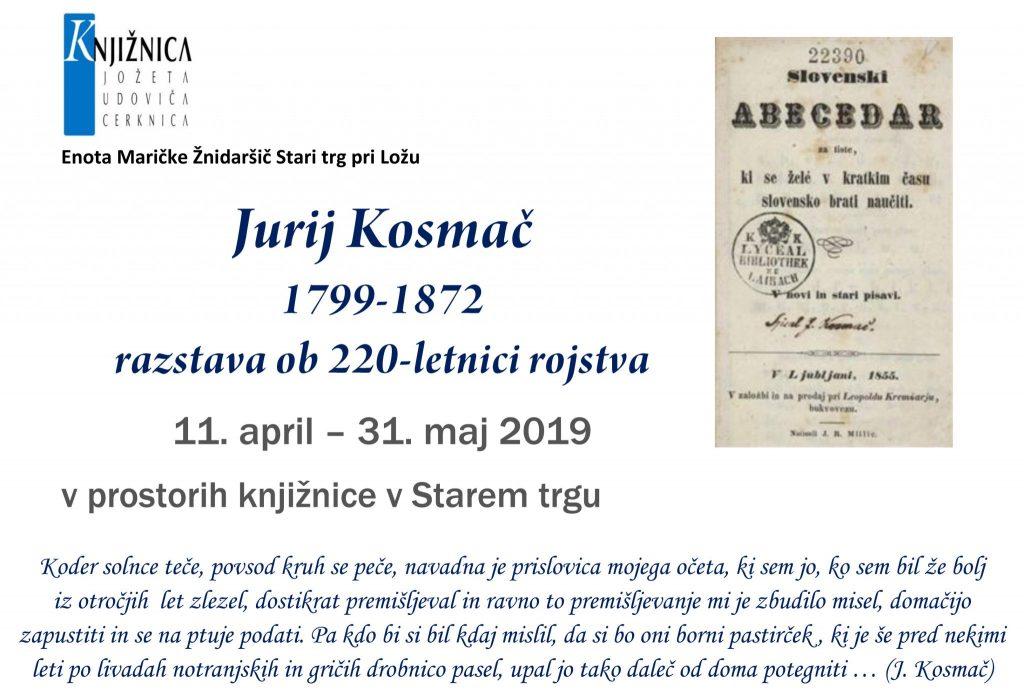 Kosmač.razstava 1024x696 - Jurij Kosmač 1799-1872 - razstava ob 220-letnici rojstva