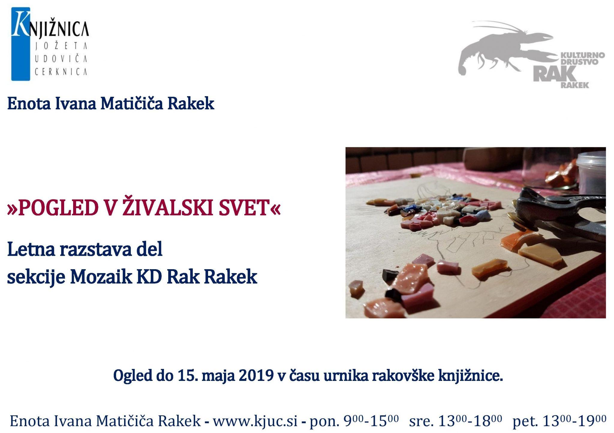 cover 2 - Pogled v živalski svet – razstava sekcije Mozaik KD Rak Rakek