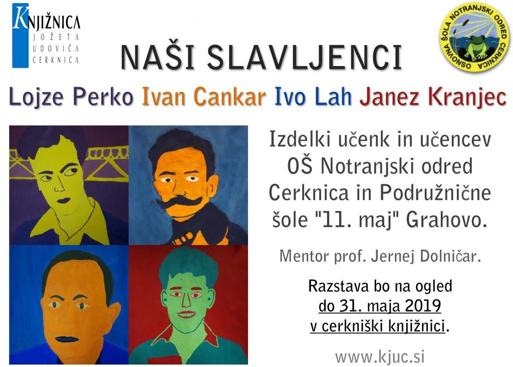 """vabilo 2 1024x732 - Naši slavljenci - L. Perko, I. Cankar, I. Lah, J. Kranjec - Izdelki učenk in učencev OŠ Notranjski odred Cerknica in Podružnične šole """"11. maj"""" Grahovo"""