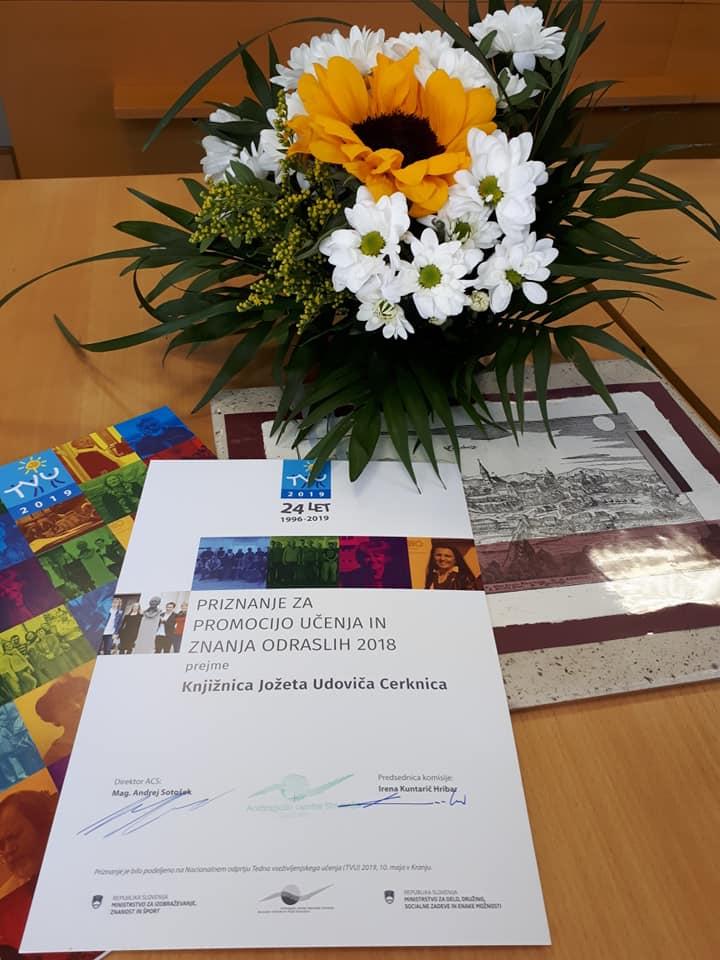 5 - Knjižnica prejemnica Priznanja za promocijo učenja in znanja odraslih Andragoškega centra Slovenije