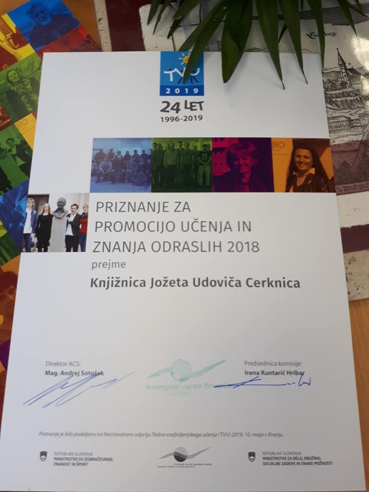 6 - Knjižnica prejemnica Priznanja za promocijo učenja in znanja odraslih Andragoškega centra Slovenije