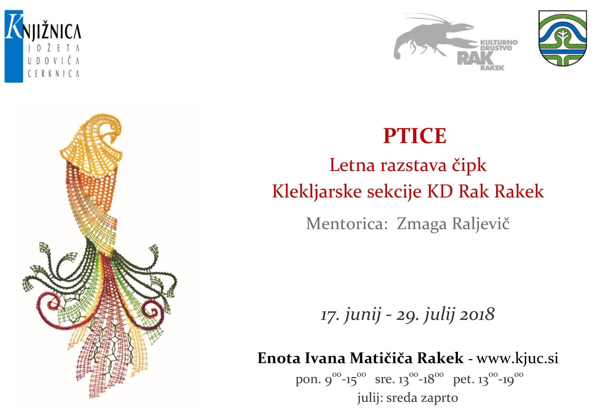 cover 4 - Ptice - letna razstava čipk Klekljarske sekcije KD Rak Rakek