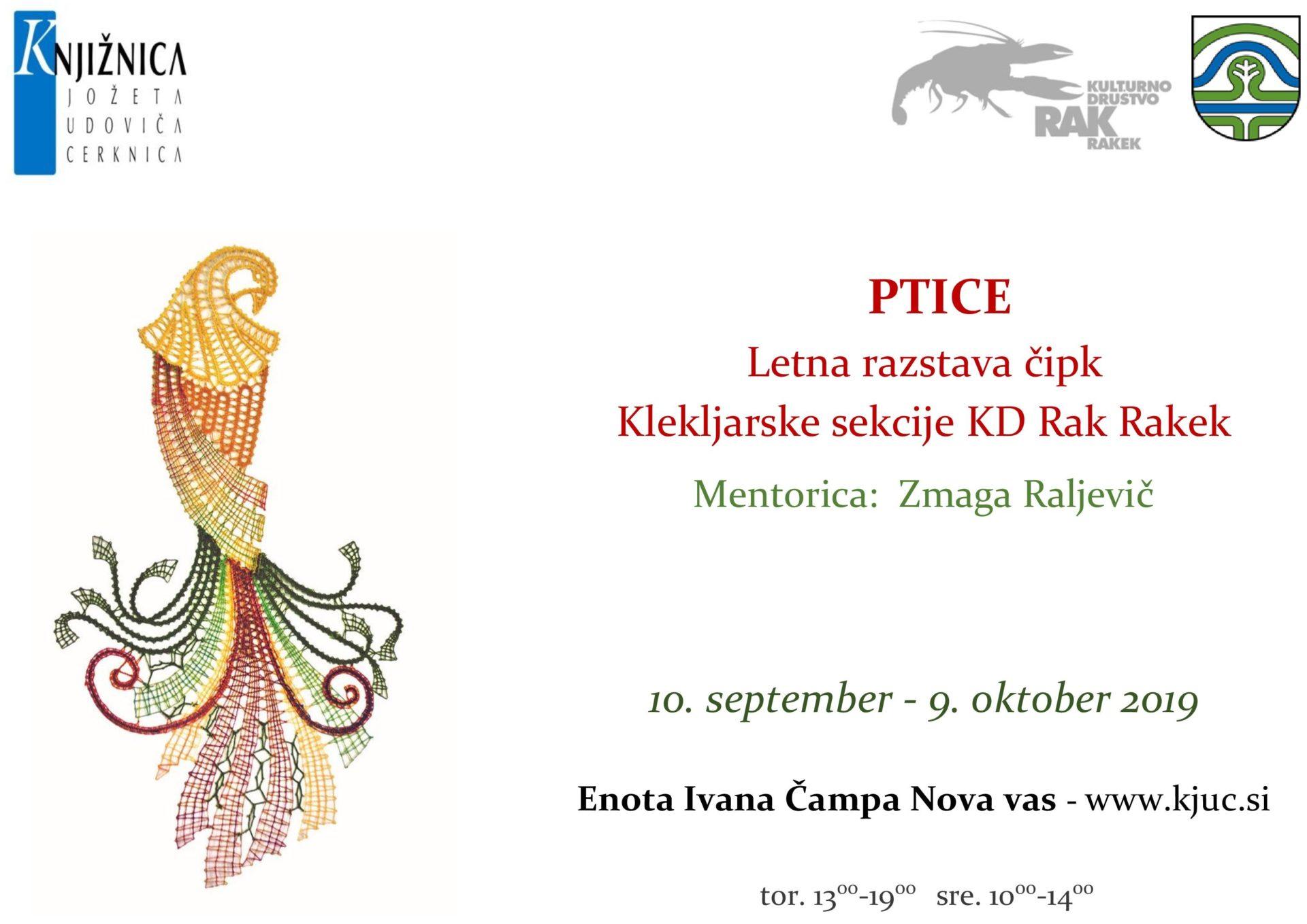 cover 5 - Ptice – razstava čipk Klekljarske sekcije KD Rak Rakek v Novi vasi
