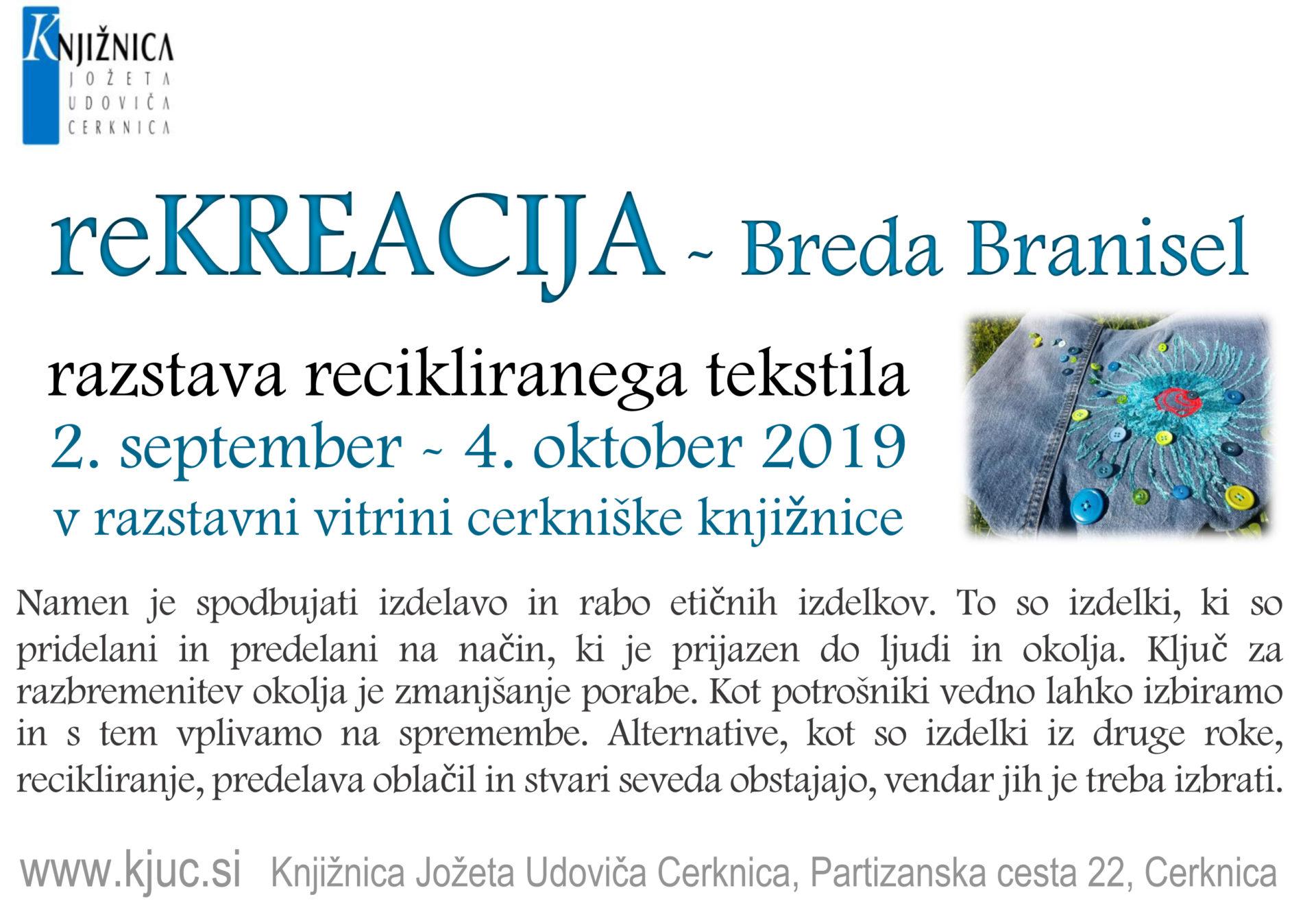 reKREACIJA vabilo - reKREACIJA - Breda Branisel - razstava recikliranega tekstila