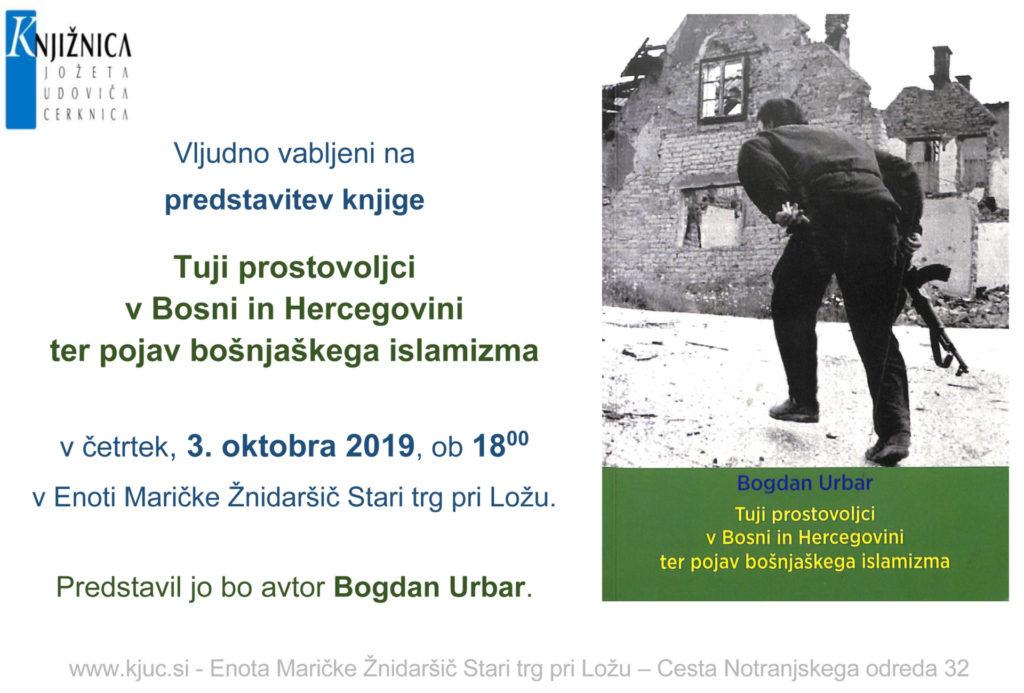 vabilo bogdan 1024x693 - Predstavitev knjige: Tuji prostovoljci v Bosni in Hercegovini ter pojav bošnjaškega islamizma