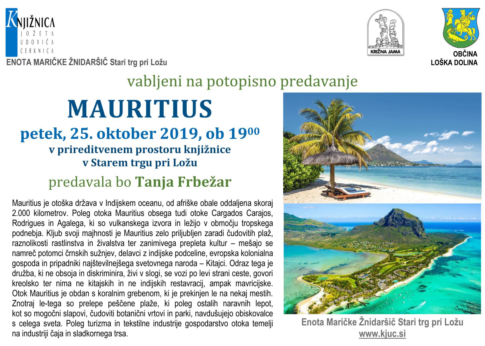 ST Frbežar Tanja okt 2019 Mauritius - Tanja Frbežar: Mauritius - potopisno predavanje