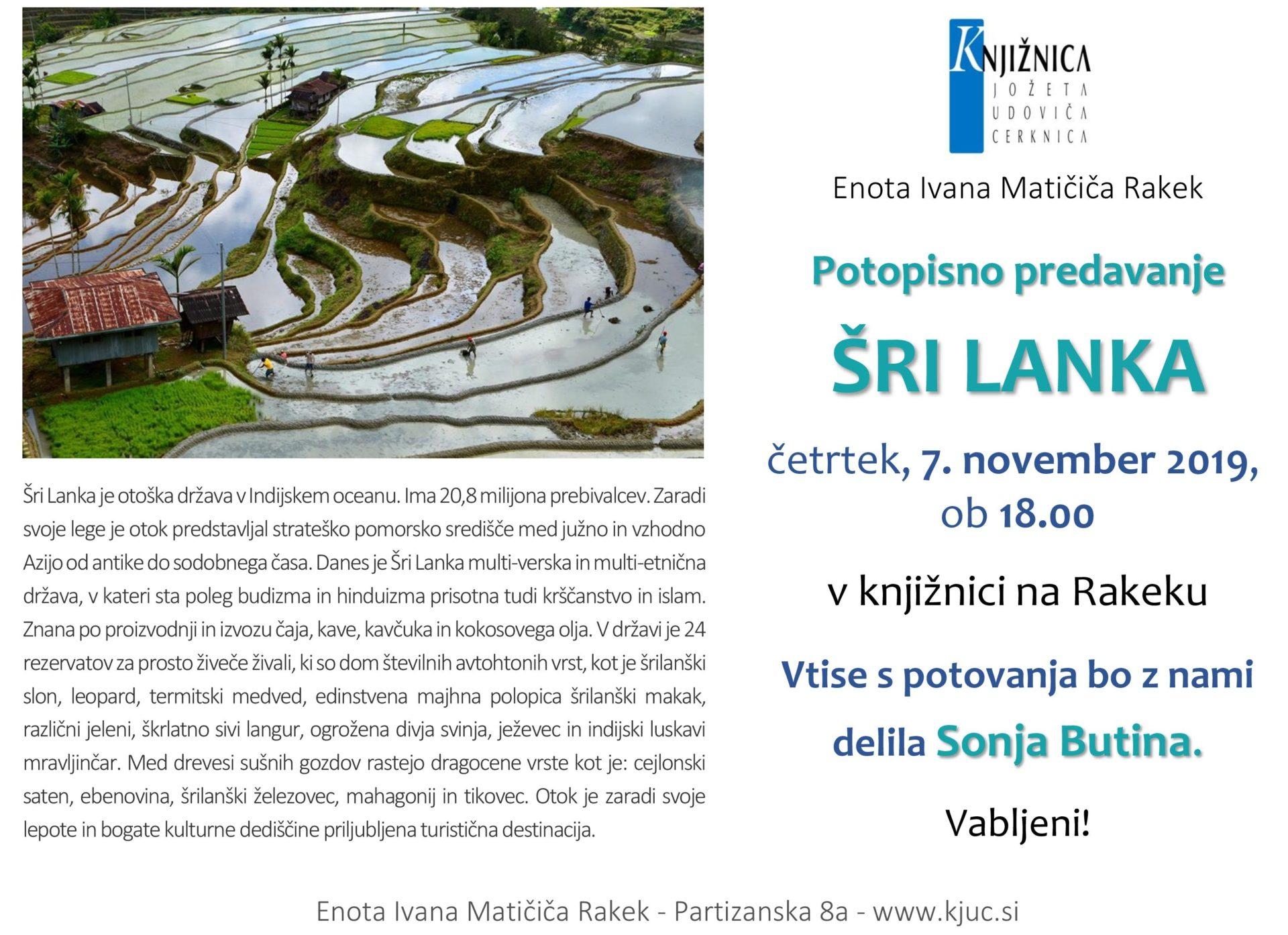 cover 5 - Sonja Butina: Šri Lanka – potopisno predavanje