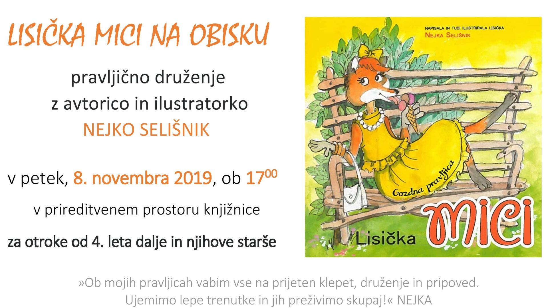 cover 6 - Lisička Mici na obisku - pravljično druženje z avtorico in ilustratorko Nejko Selišnik