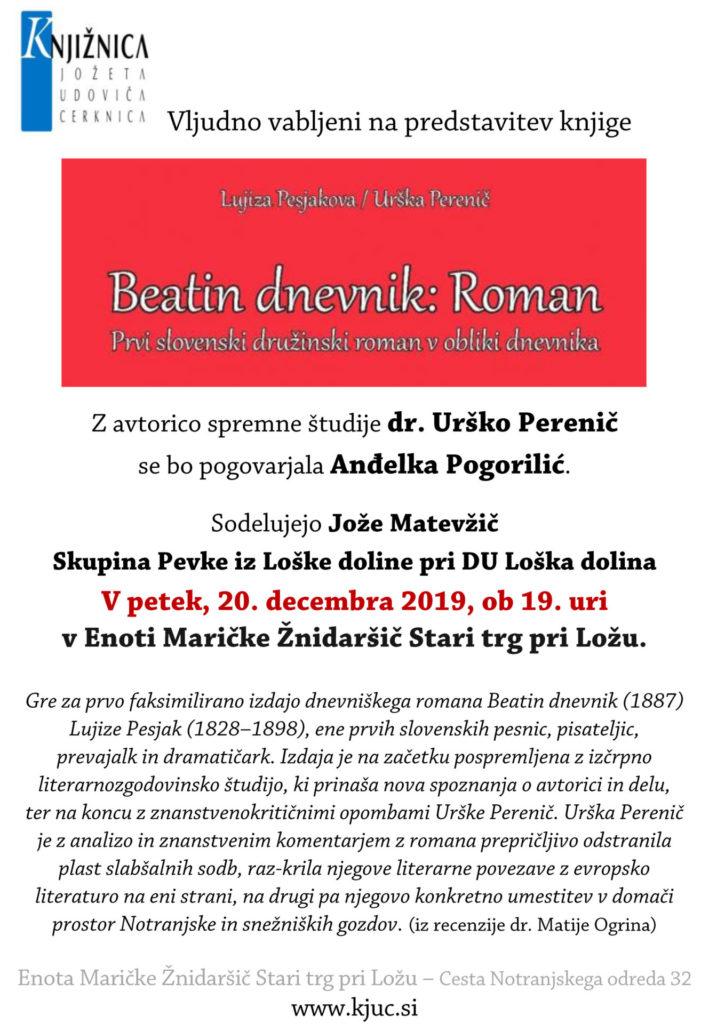 vabilo zadnja beata 1 701x1024 - Lujiza Pesjak/Urška Perenič: Beatin dnevnik - predstavitev dnevniškega romana