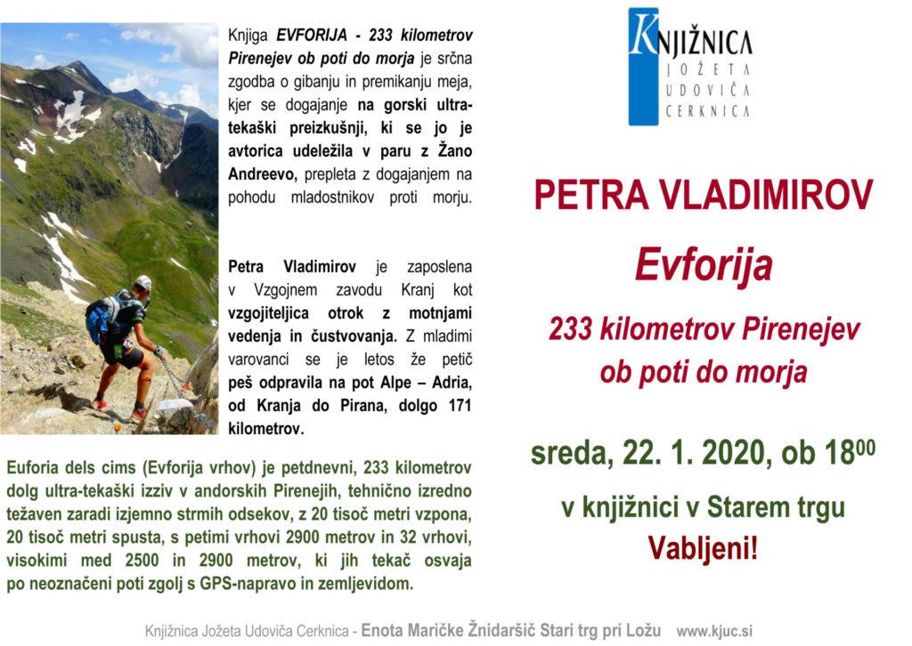 EVFORIJA jan 2020 1024x726 - Petra Vladimirov: Evforija - 233 kilometrov Pirenejev ob poti do morja