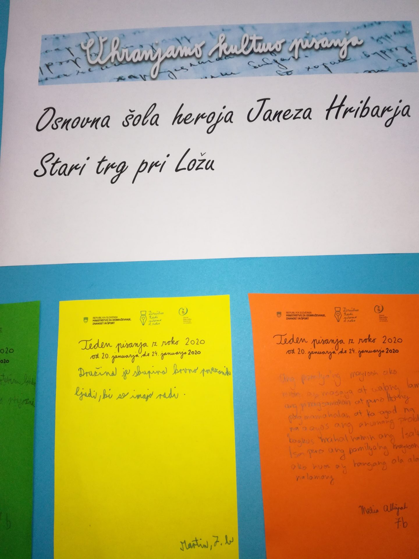 IMG 20200127 144533 - Teden pisanja z roko 2020 - Razstava izdelkov učencev OŠ heroja Janeza Hribarja Stari trg pri Ložu