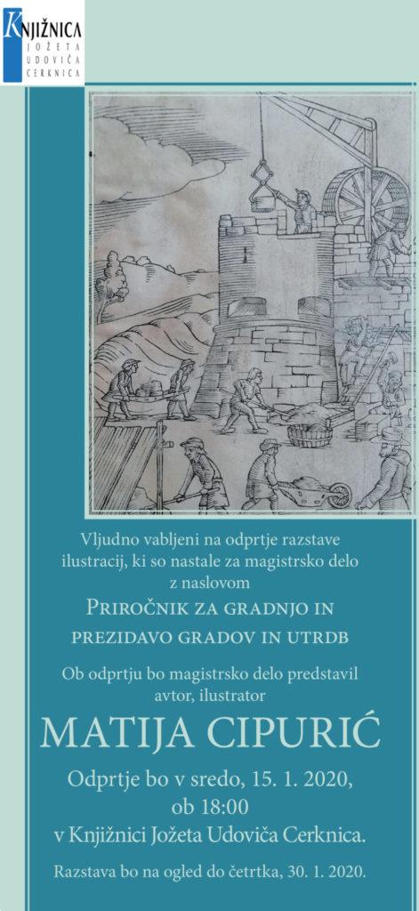 cipurić 471x1024 - Matija Cipurić: odprtje razstave ilustracij za magistrsko delo Priročnik za gradnjo in prezidavo gradov in utrdb