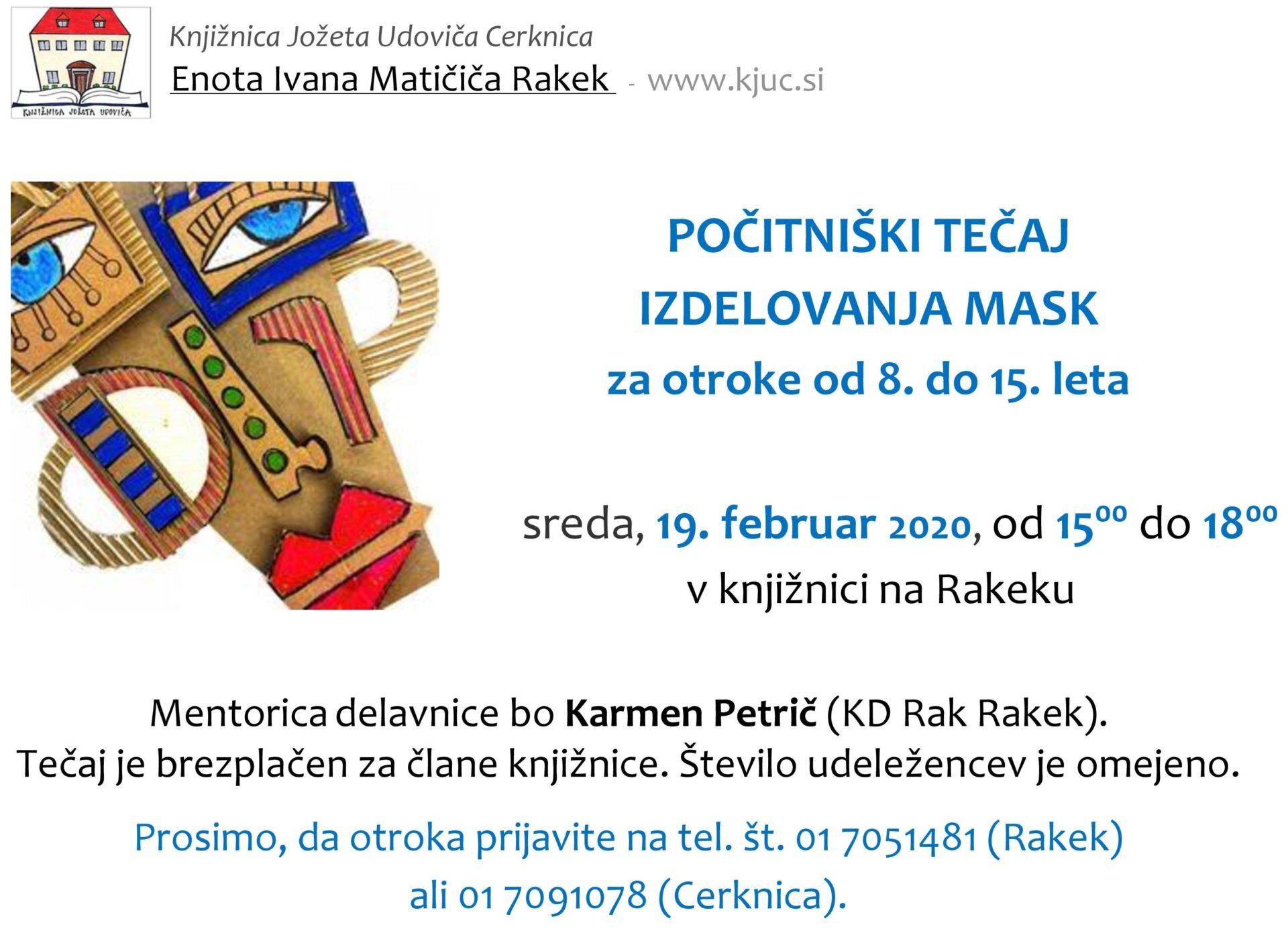 cover 6 - Počitniški tečaj izdelovanja mask - Rakek