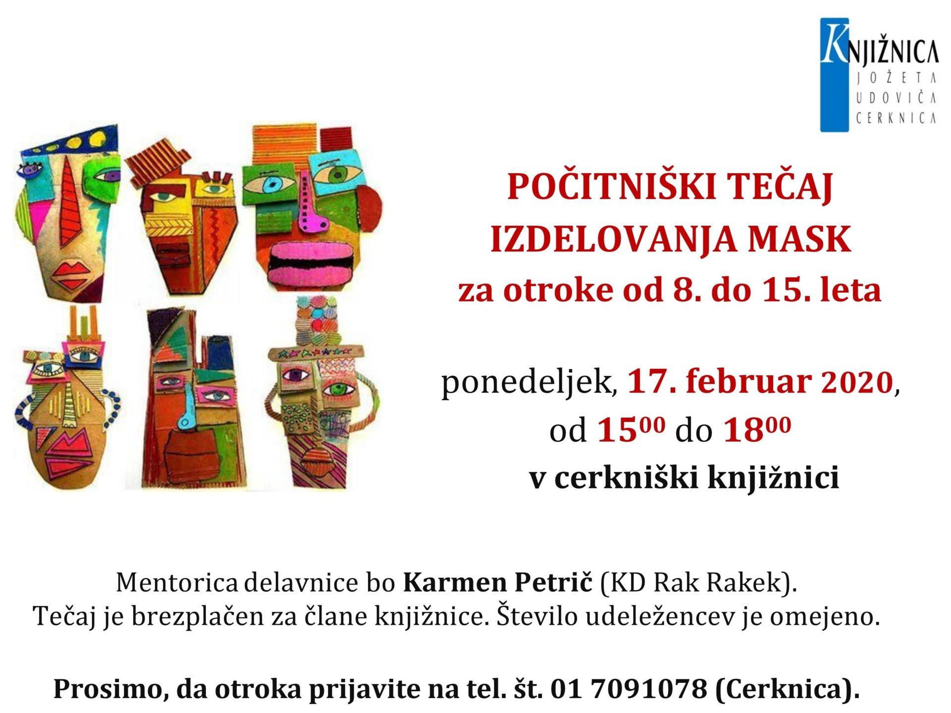 cover 7 - Počitniški tečaj izdelovanja mask - Cerknica