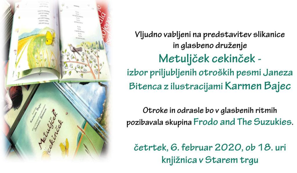 fbMetuljček cekinček 1024x599 - Metuljček cekinček - izbor priljubljenih otroških pesmi Janeza Bitenca z ilustracijami Karmen Bajec