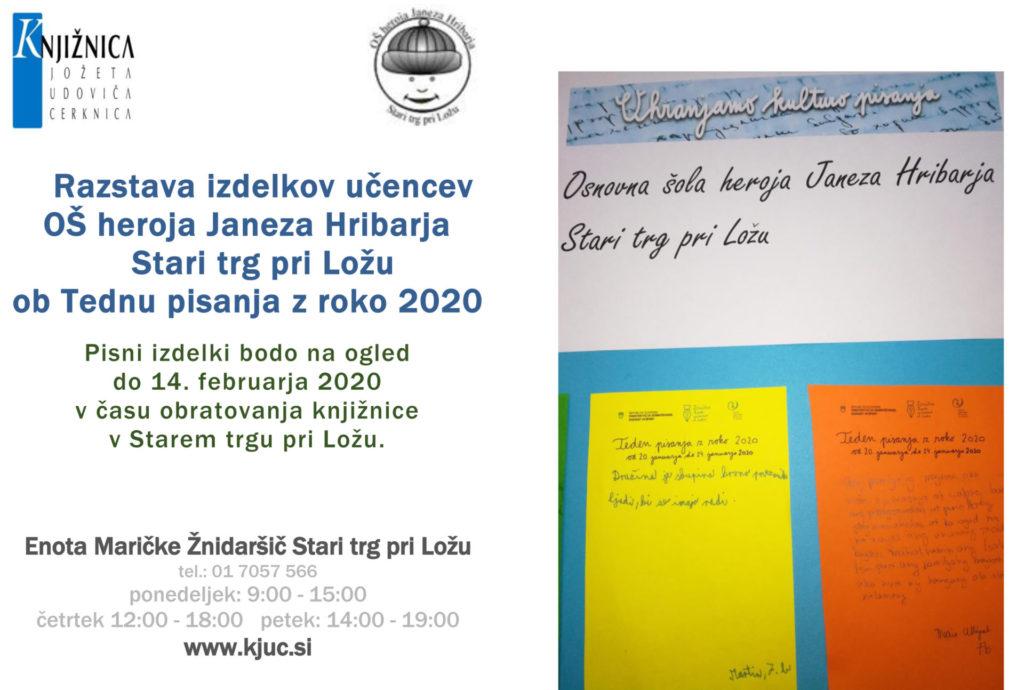 teden pisanja z roko 1024x690 - Teden pisanja z roko 2020 - Razstava izdelkov učencev OŠ heroja Janeza Hribarja Stari trg pri Ložu
