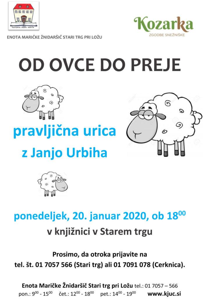 vabilo ST jan 2020 718x1024 - Od ovce do preje - pravljična urica z Janjo Urbiha