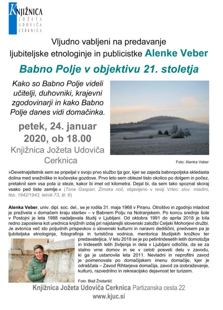 vabilo veber jan 2020 737x1024 - Alenka Veber: Babno Polje v objektivu 21. stoletja - predavanje